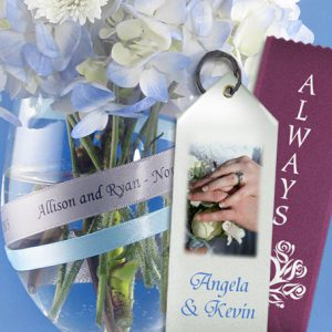 Using custom ribbons for wedding decorations favors and any other details