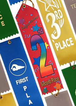 showcases various place ribbons