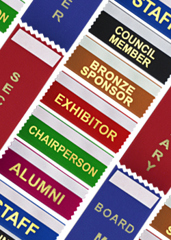 assorted stock badge ribbon designs