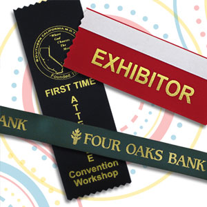 Badge ribbons for trade shows, conferences and more