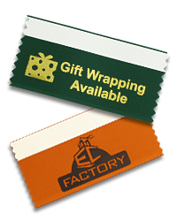Ribbon Descriptions (left to right) Horizontal red ribbon with gold imprint and no tape.