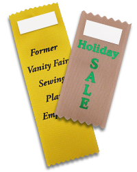 Description of Ribbons (starting at left): Canary ribbon with black imprint (metal stamp required), Hunter Green ribbon with gold imprint.