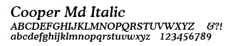 Cooper Italic font selected.