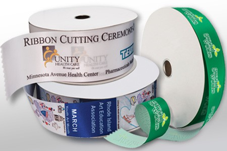 Examples of full color printing on satin acetate ribbon rolls.