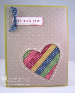 custom made thank you card using ribbon accents