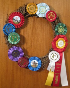 award ribbon wreath using rosette ribbons
