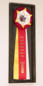 wheaton rosette ribbons in a frame for display