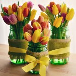 Spring Tulips and Burlap Wrapped Mason Jars flower arrangements