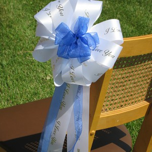 satin acetate and organza ribbons for pew bows go great with personalization