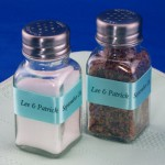 salt and pepper shaker accents personalized wedding ribbon rolls
