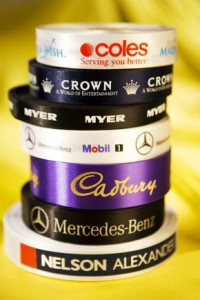 use personalized ribbon rolls with your logo or company slogan for your brand awareness