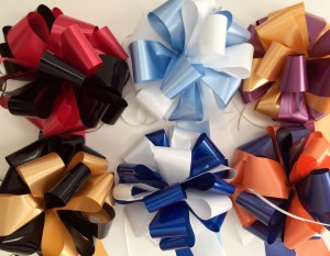 school spirit bows with personalized ribbons using satin acetate ribbon rolls