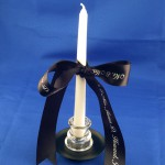 personalized ribbons candles centerpieces vases