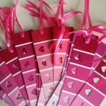 ribbon roll used with paint chip sample cards for valentine cards and bookmarks