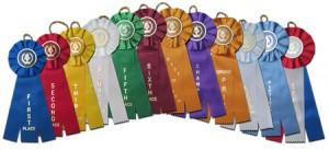 victory torch triple streamer stock rosette ribbons