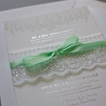 ribbon rolls and lace for party or shower invitations