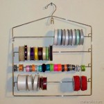ribbon storage using a pant or skirt hanger