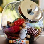 ribbon storage using canisters or jars
