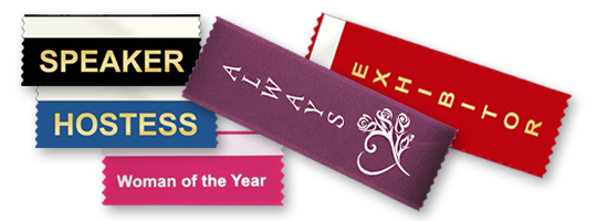 custom badge ribbons to wear on name tags and badge holders