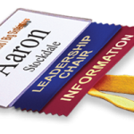 add any text badge ribbon to your next business conference name badge