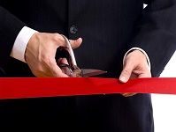 ribbon cutting using continuous event ribbon rolls