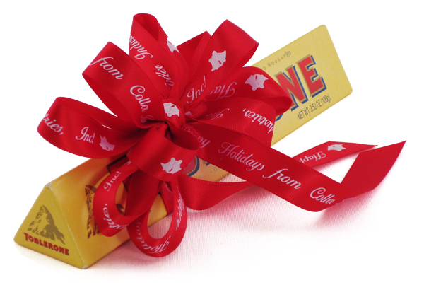 A corporate ribbon tied around a candy bar as part of a company's networking strategy.