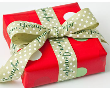 A gift wrapped using a custom ribbon, used to stay socially connected with other people.