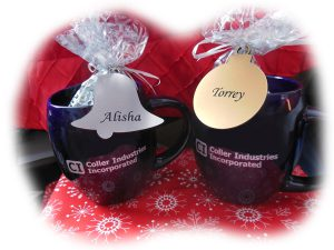 coller industries incorporated annual employee christmas party with fun prizes and holiday mugs and name tags