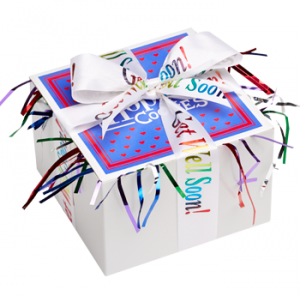 personalized ribbons and thoughtful gifts will help cheer up almost anyone