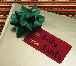 holiday ribbons are perfect for making into name tags for gifts
