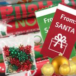 using Custom Badge Ribbons as holiday gift tags for Corporate Gifting