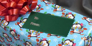 use badge ribbons for gift tags for your corporate gifting this holiday season