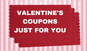 personalized badge ribbons used to make a valentine coupon book