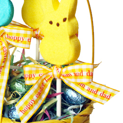 use holiday easter ribbons to decorate candy and baked goods