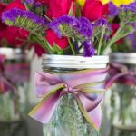 use fun and festive custom ribbons and flowers to add value and reuse old canning jars