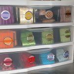 store your ribbon collection in clear drawers and plastic bins