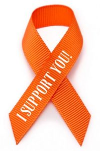 orange ribbon in grosgrain for awareness of firefighters, volunteers and their families