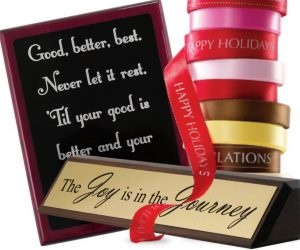custom award plaques and name plates are a great corporate gift idea, and they can add to office decorating