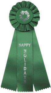 custom rosette ribbons are a great prize at any holiday party