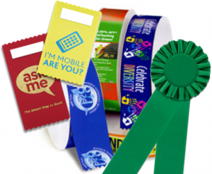 product marketing ribbons with ribbon rolls, rosette ribbons and badge ribbons