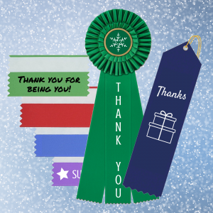 saying thank you with personalized ribbons