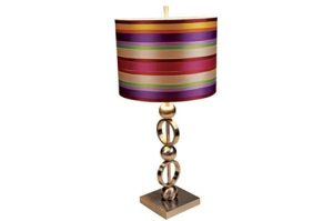 Use ribbon strips to decorate a lamp shade for your workplace