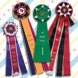 six inch streamers on rosette ribbons