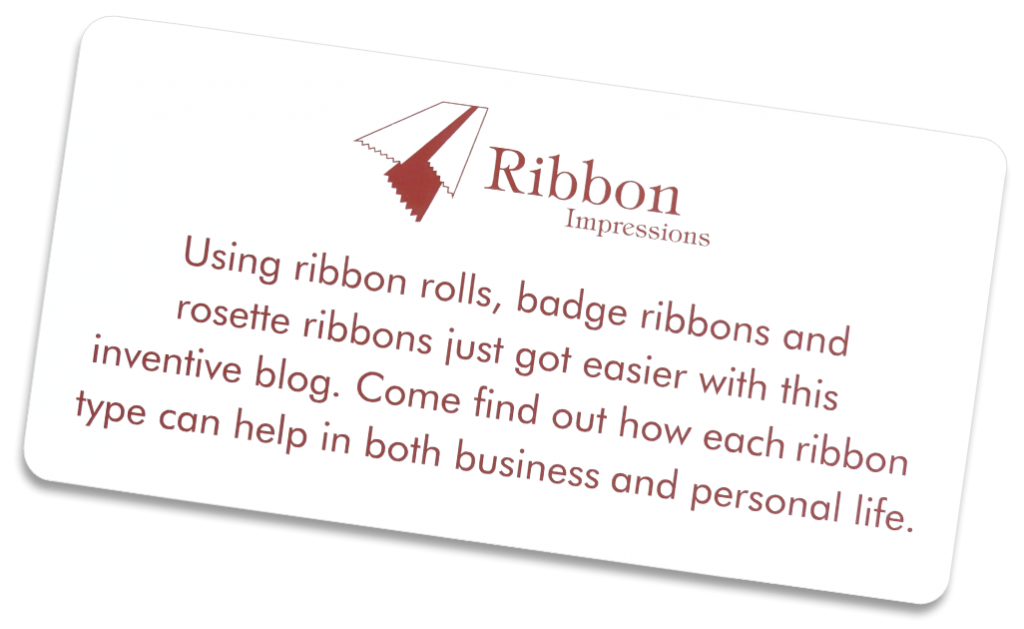 Plastic, engraved sign describing Coller Industries Incorporated's personalized ribbons blog Ribbon Impressions