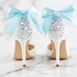 add something blue and keep in line with wedding traditions using custom ribbons on shoes