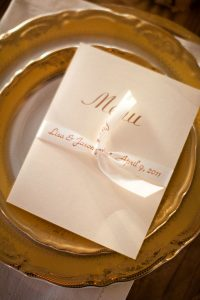 weddings invitations and menus are perfect with personalized ribbons