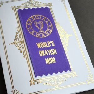 badge ribbons on greeting cards for mother's day and father's day