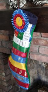 use badge ribbons to make a Christmas stocking for unique holiday decorating