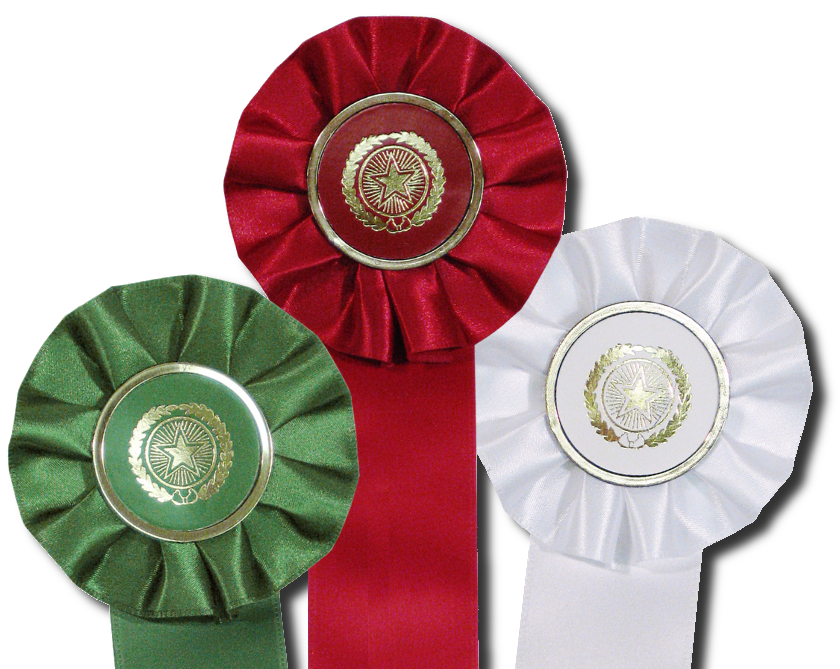 red, green and white stock star rosette ribbons are perfect for holiday decorating