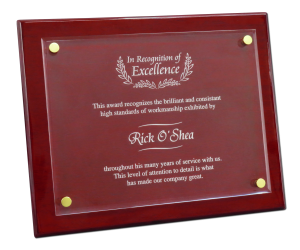Rosewood and Floating Acrylic Plaques are perfect for any retirement gift.